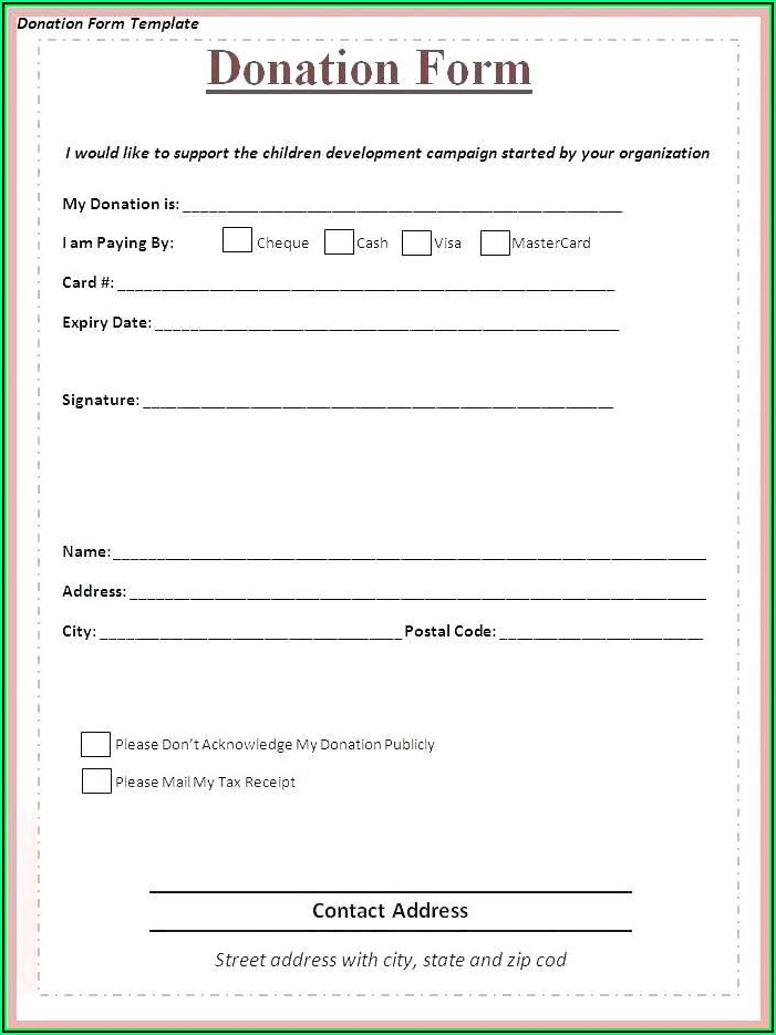 Fundraising Sponsorship Form Template