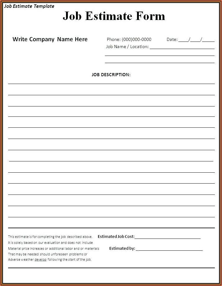 General Contractor Bid Forms Free