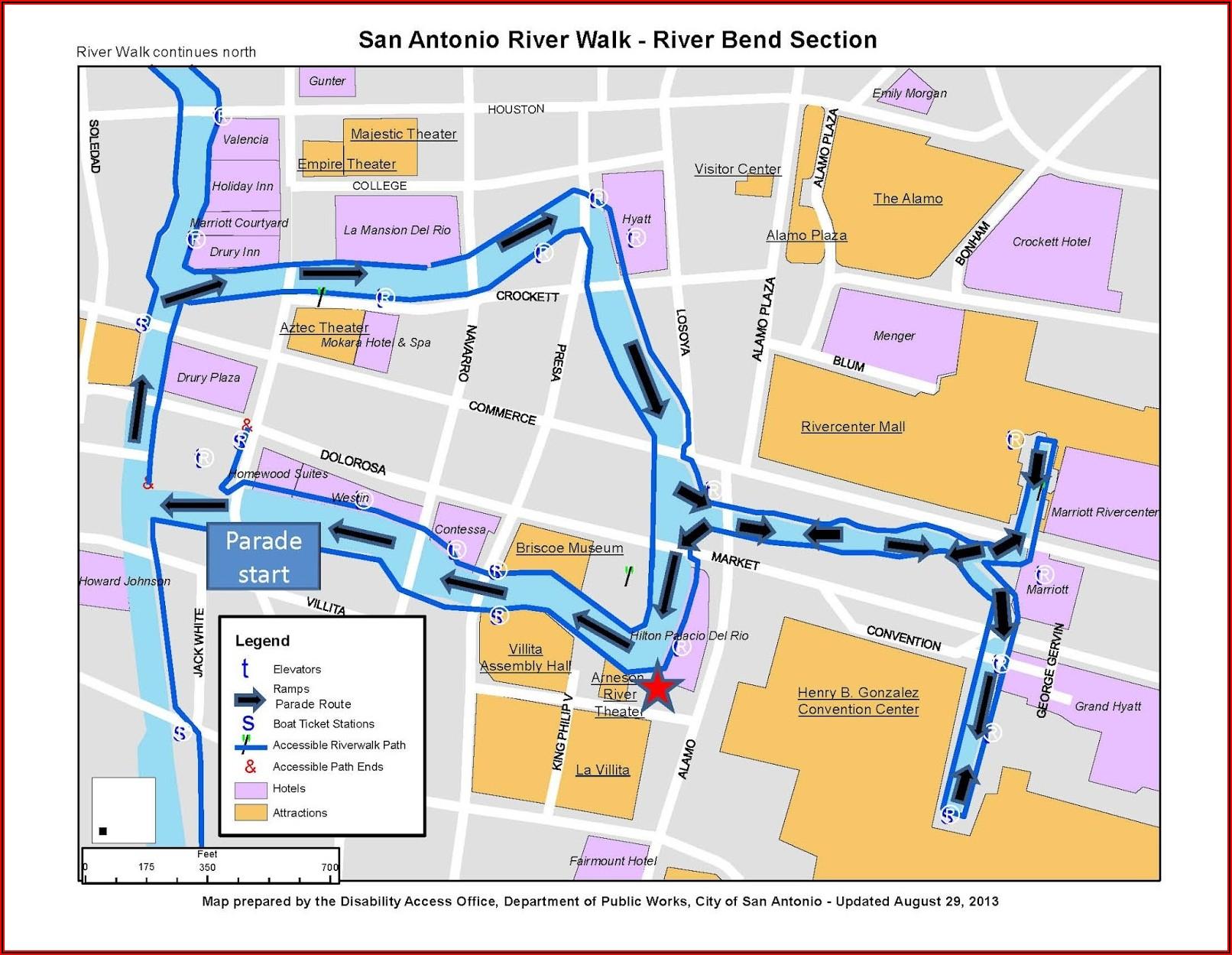 Hotels On Riverwalk San Antonio Map
