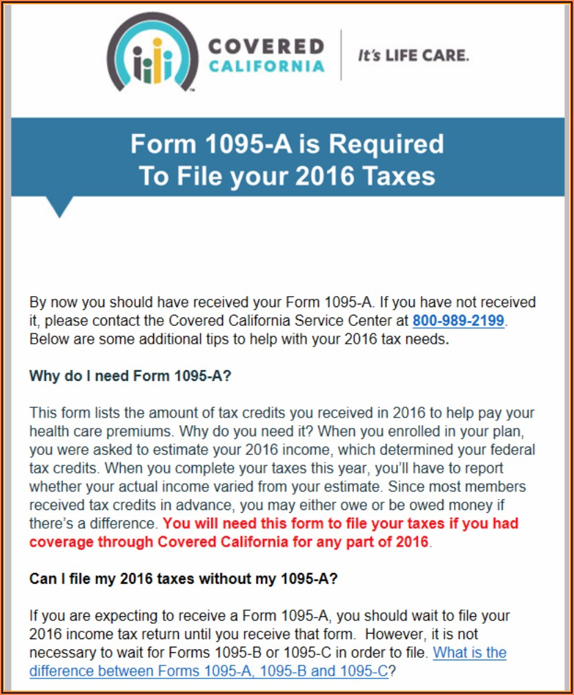 How To Print 1095 A Form From Covered California
