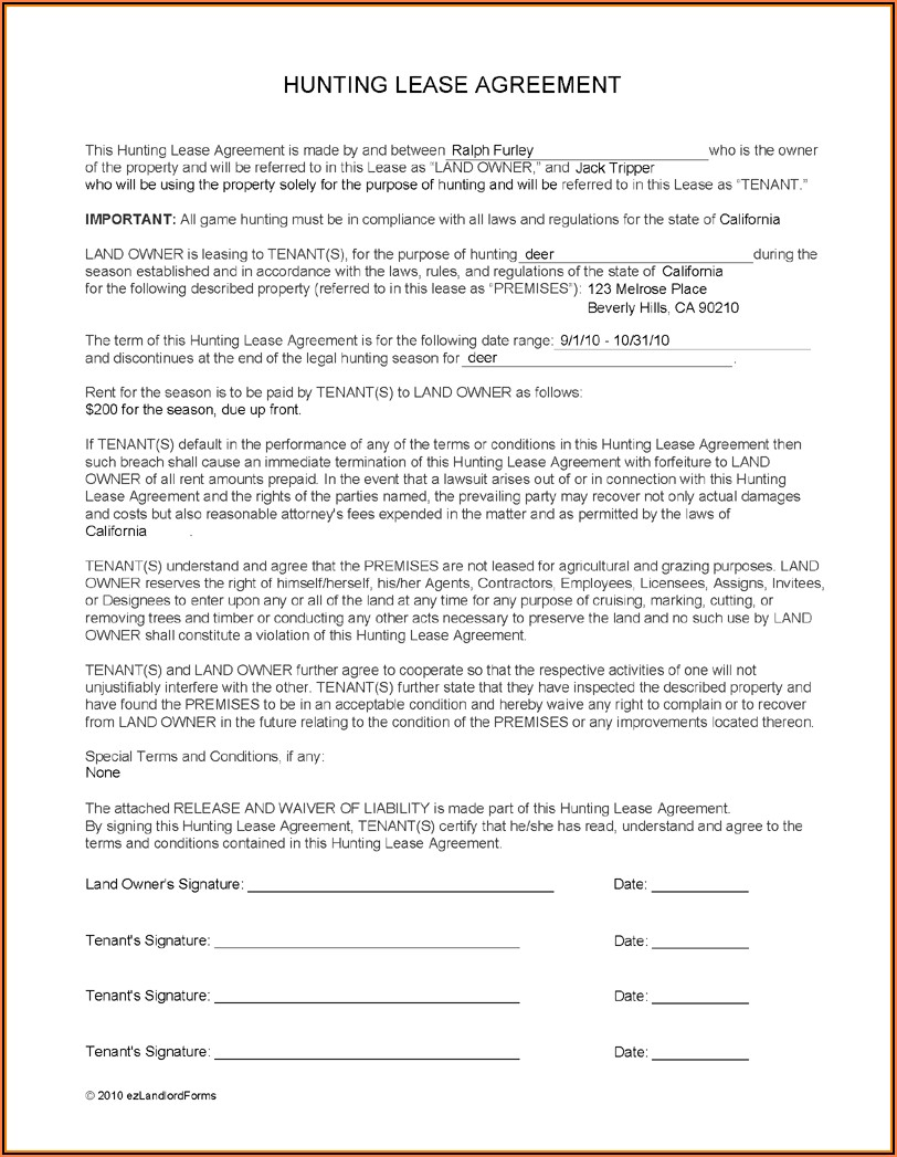 Hunting Lease Form Texas
