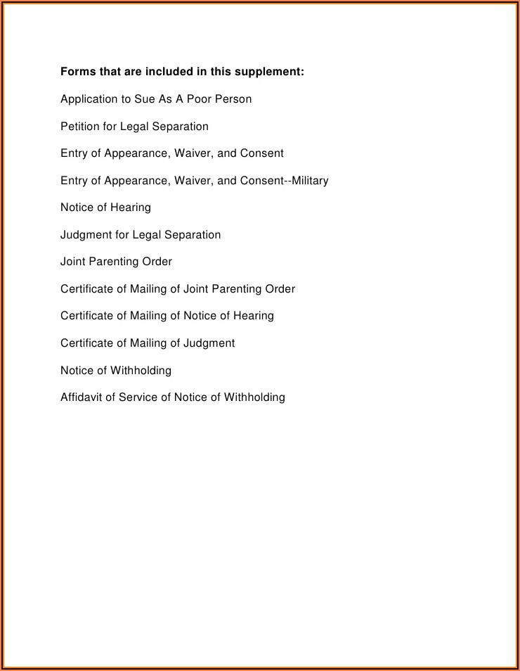 Illinois Legal Separation Forms