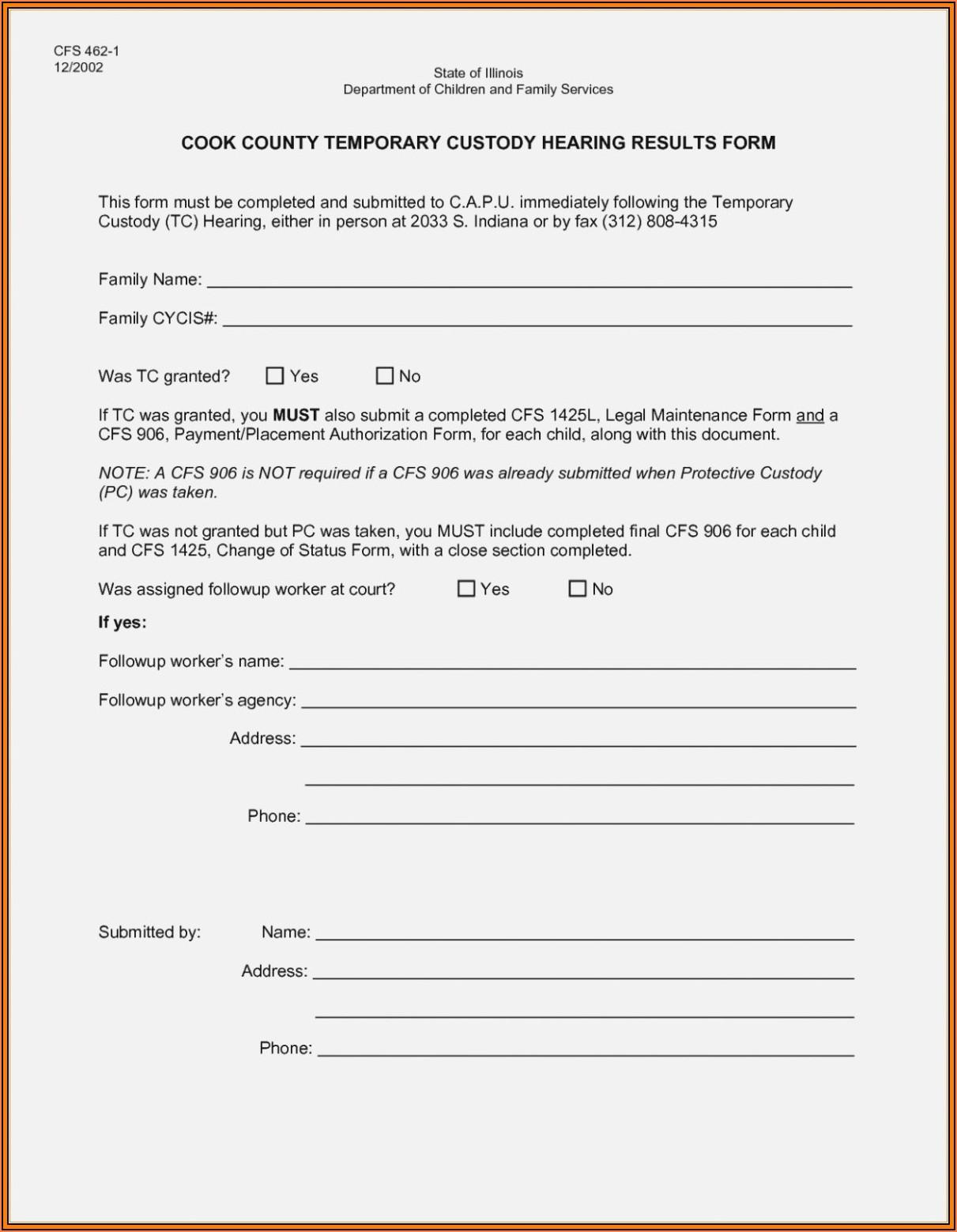 Indiana Temporary Child Custody Forms