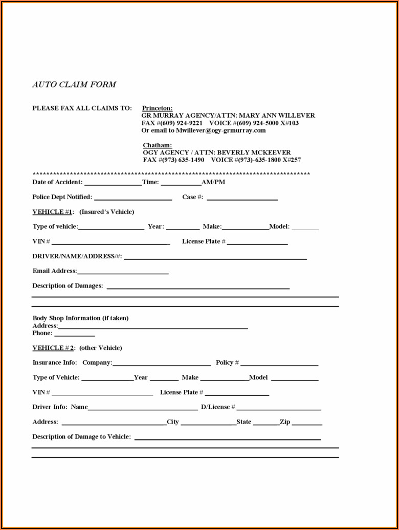 Insurance Claim Form Template Word