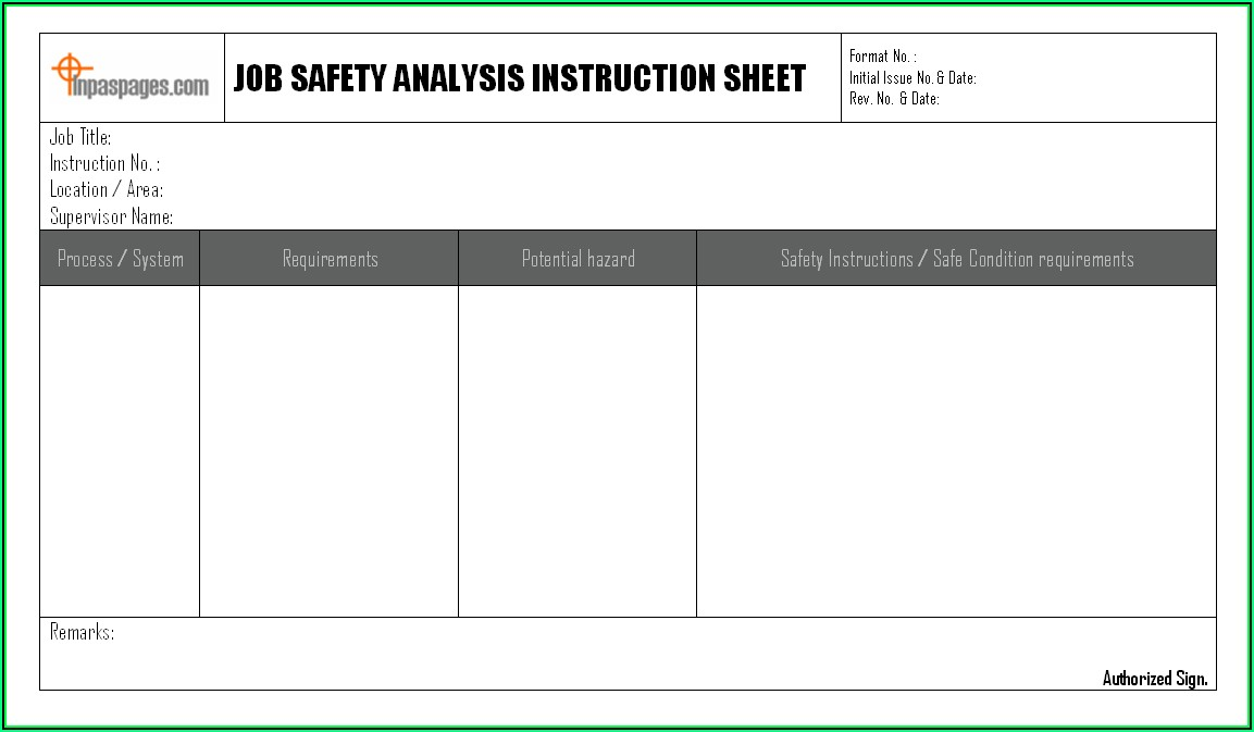 Job Safety Analysis Template Excel