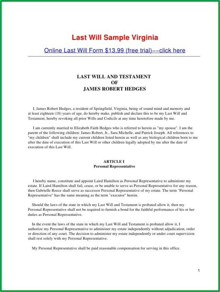Joint Last Will And Testament Template