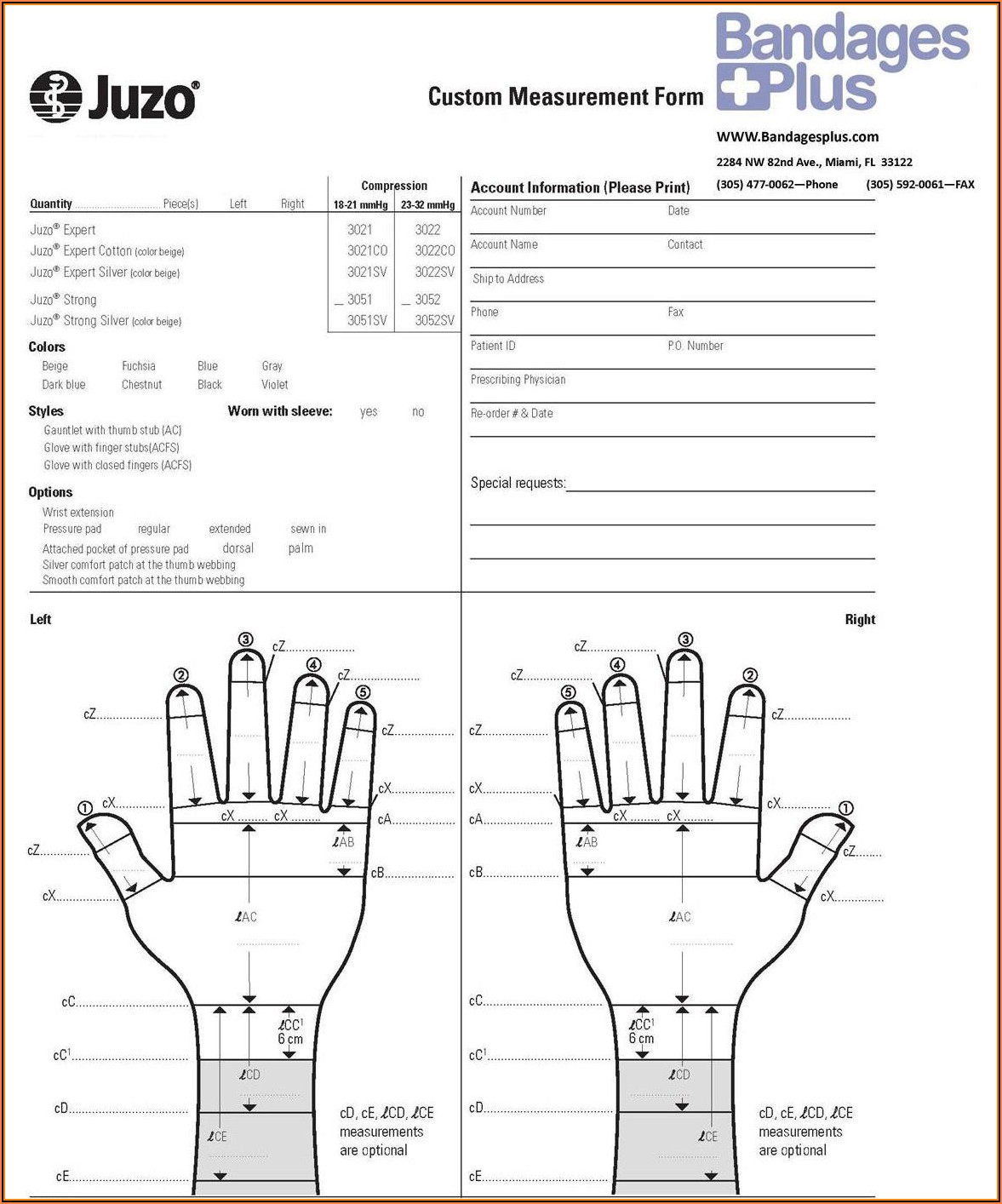 Juzo Ez Custom Measurement Form