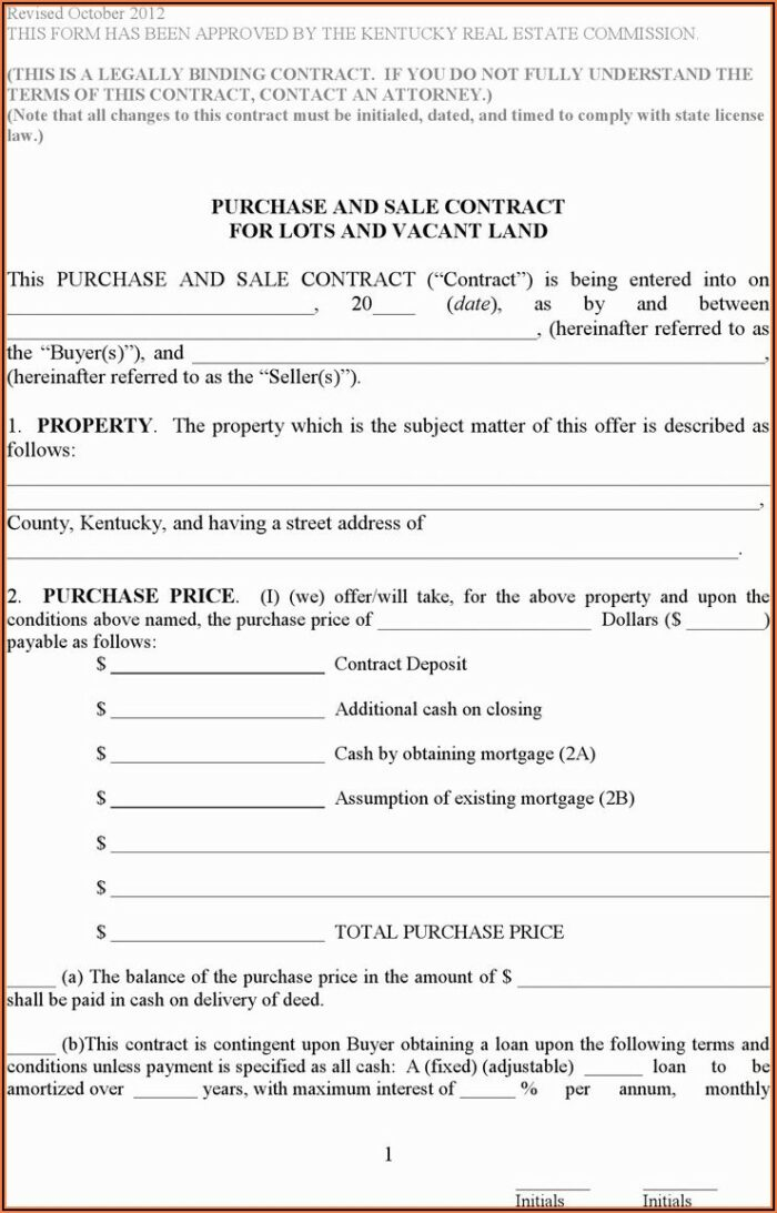 Kentucky Contract For Deed Form