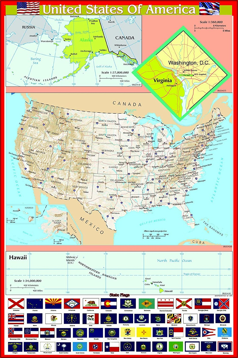 Laminated Wall Map Of United States