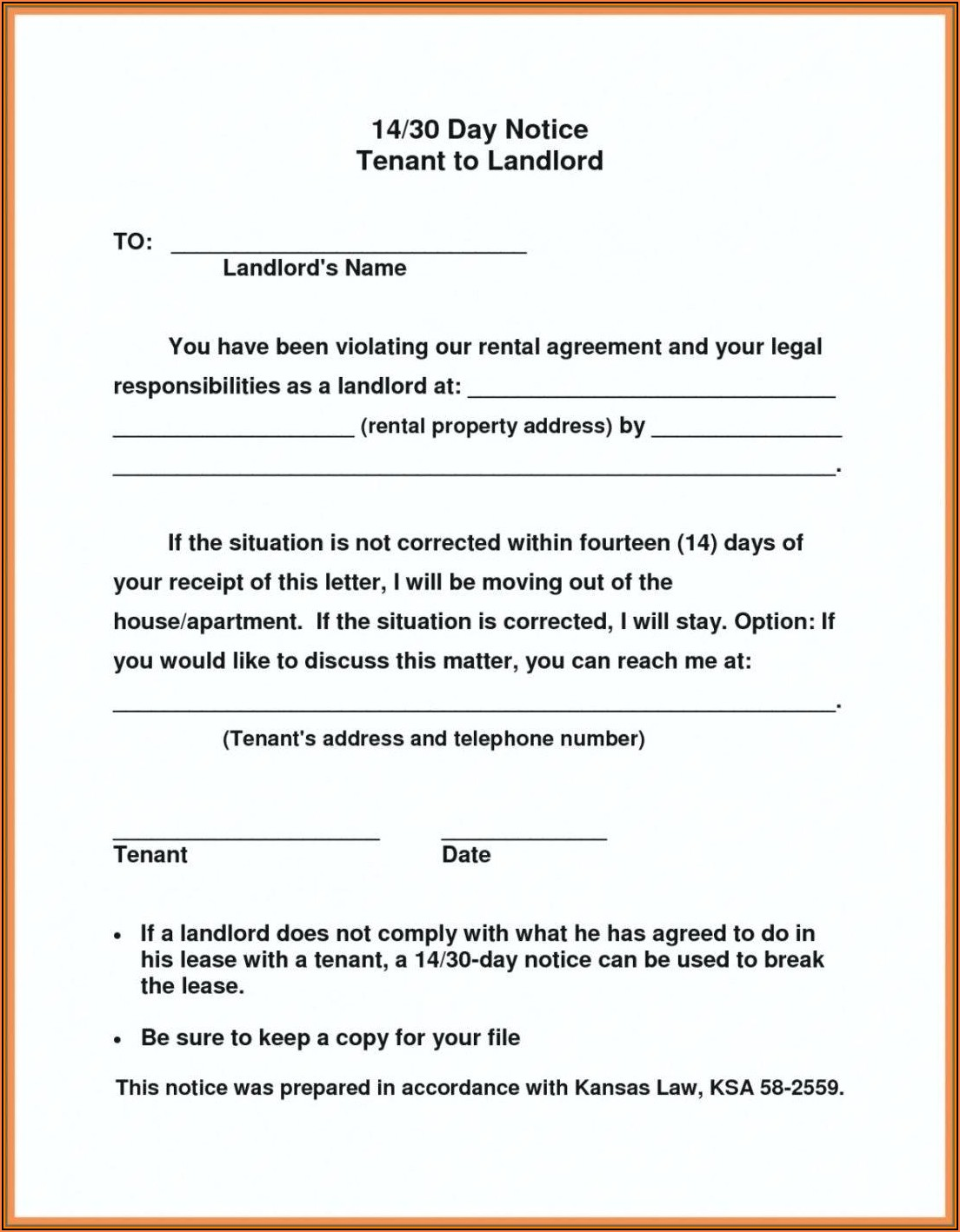 Landlord To Tenant 30 Day Notice To Vacate Form