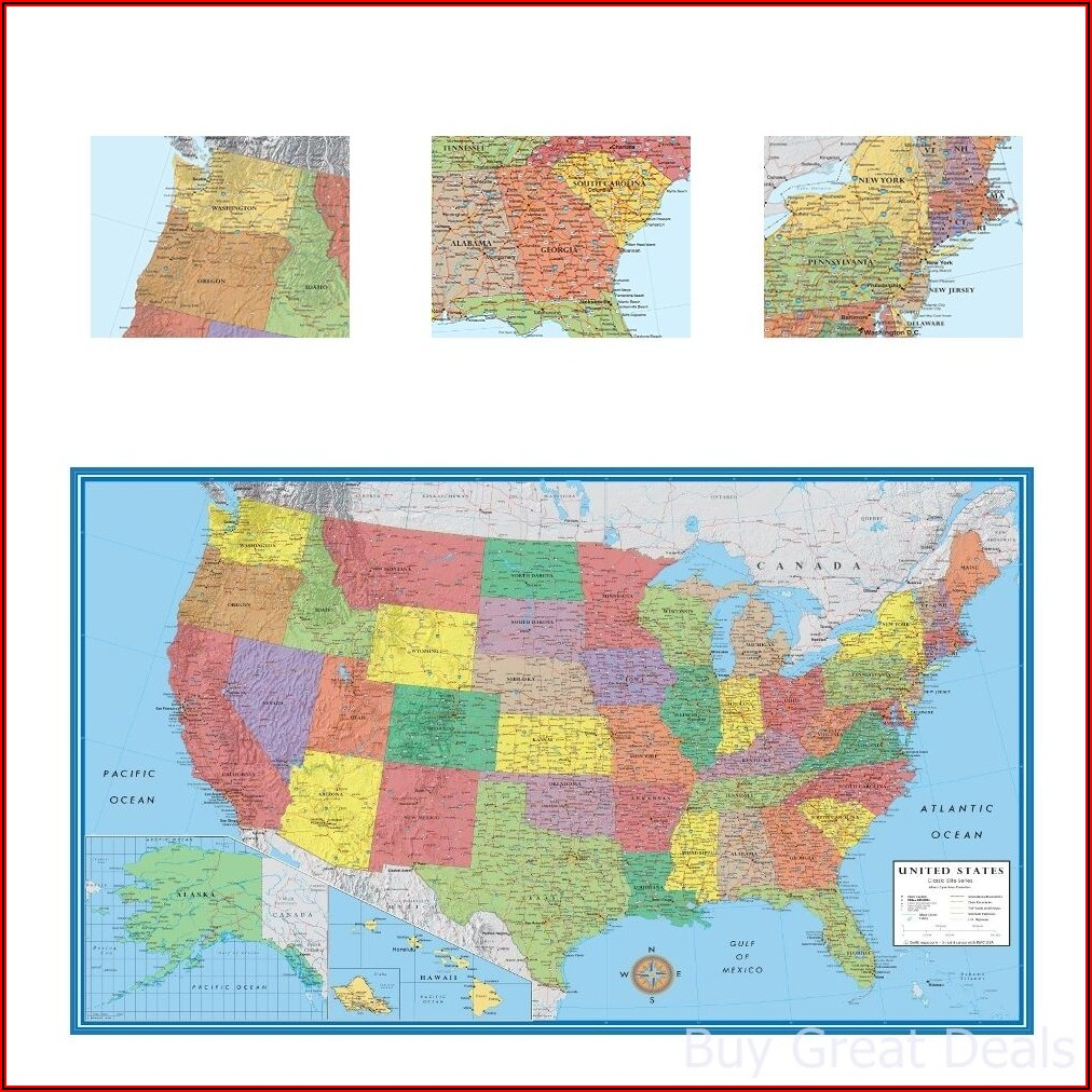 Large Us Road Map Poster