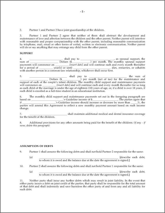 Legal Separation Agreement Form Ontario