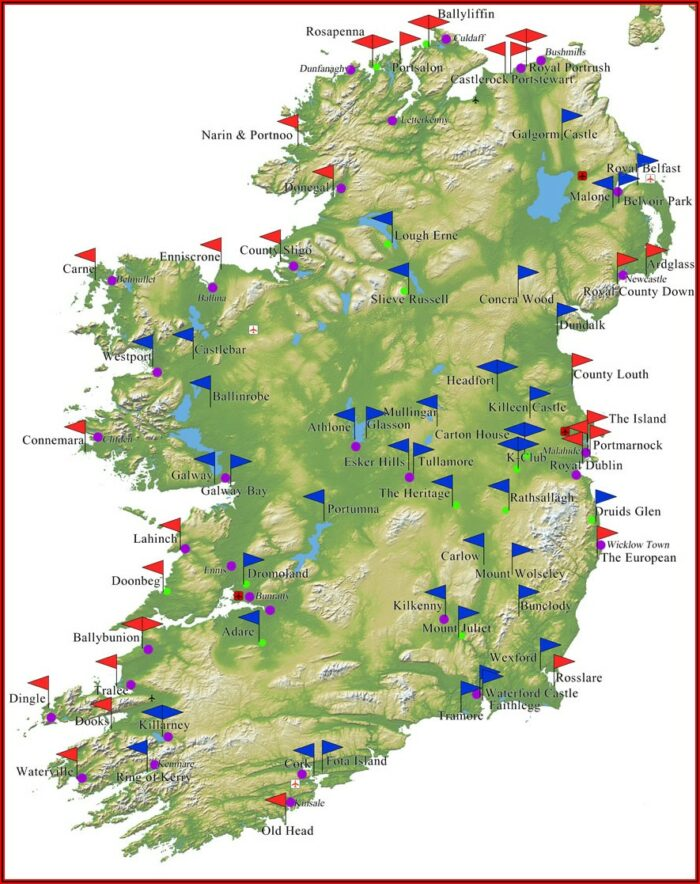 Map Of All Golf Courses In Ireland