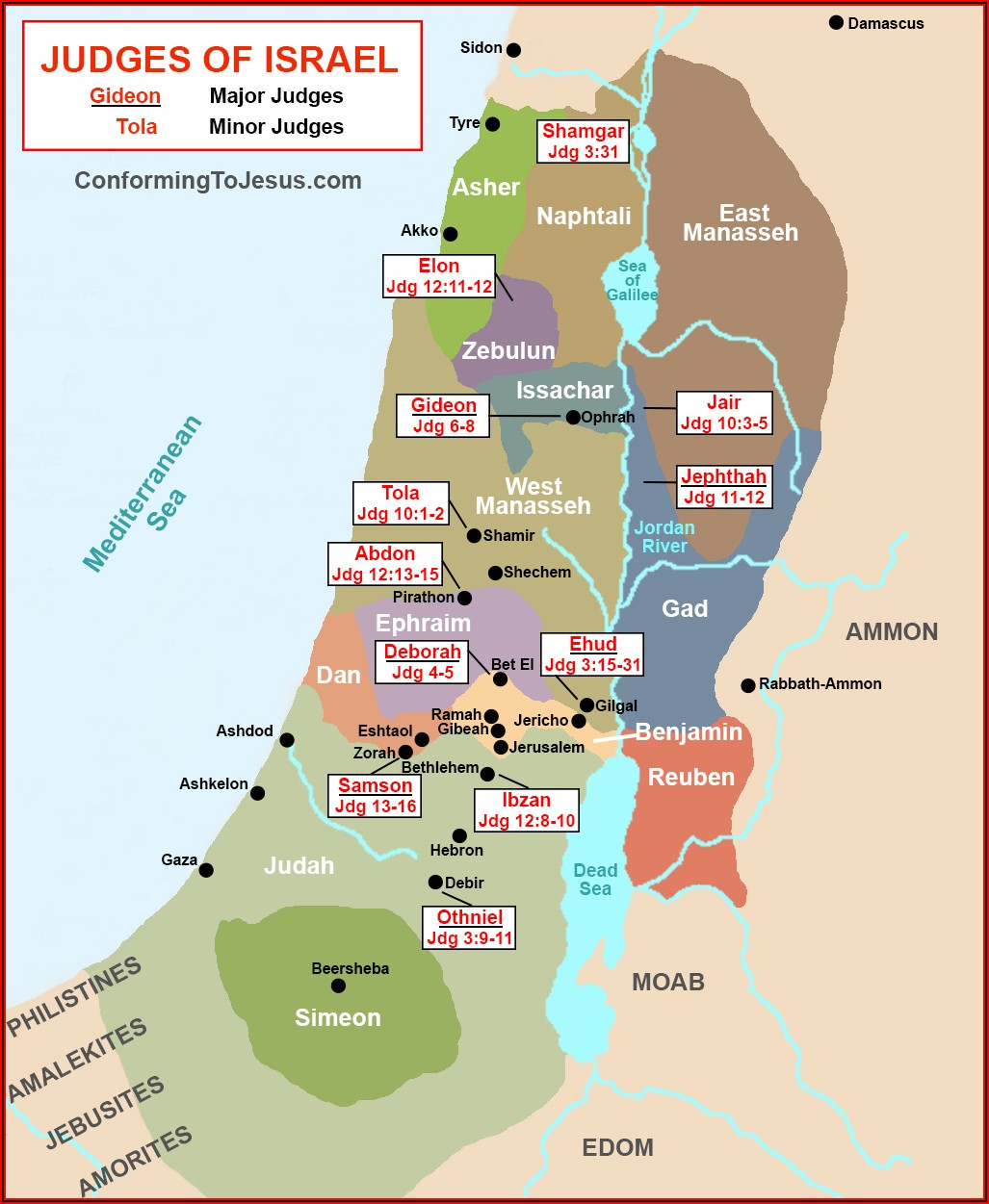 Map Of Ancient Old Testament Israel