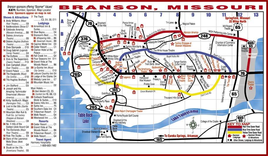Map Of Branson Missouri Hotels