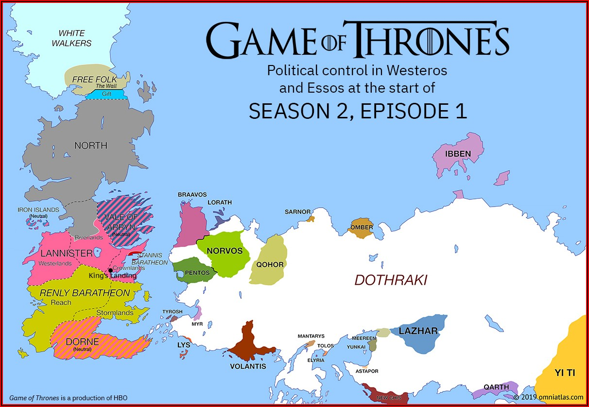 Map Of Game Of Thrones World Season 1