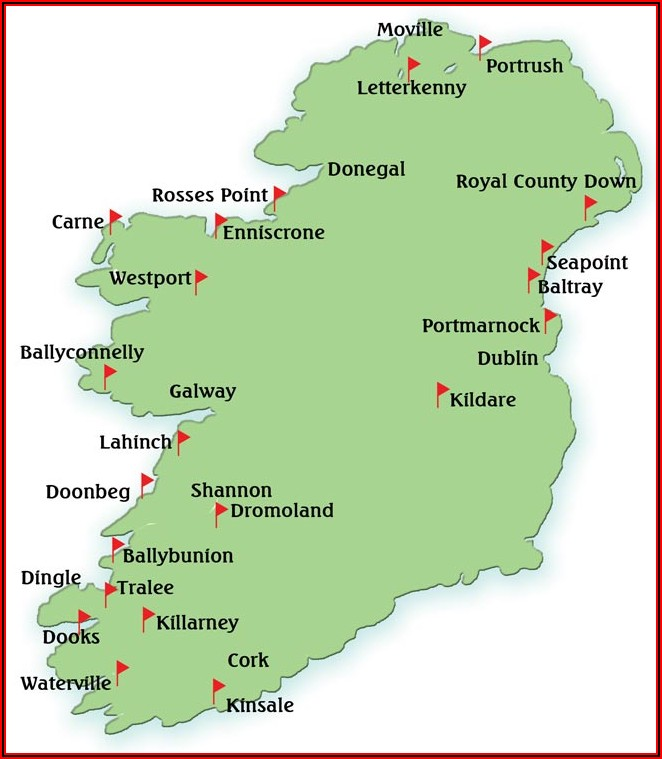 Map Of Golf Courses In Western Ireland