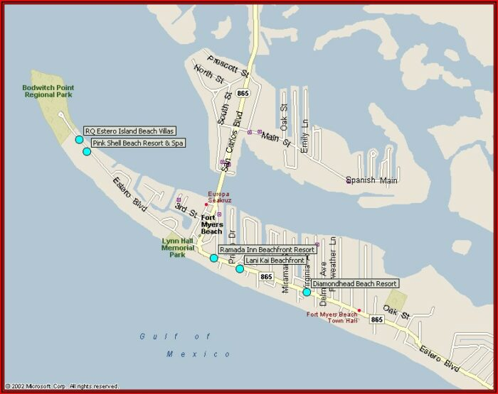 Map Of Hotels On Fort Myers Beach Fl