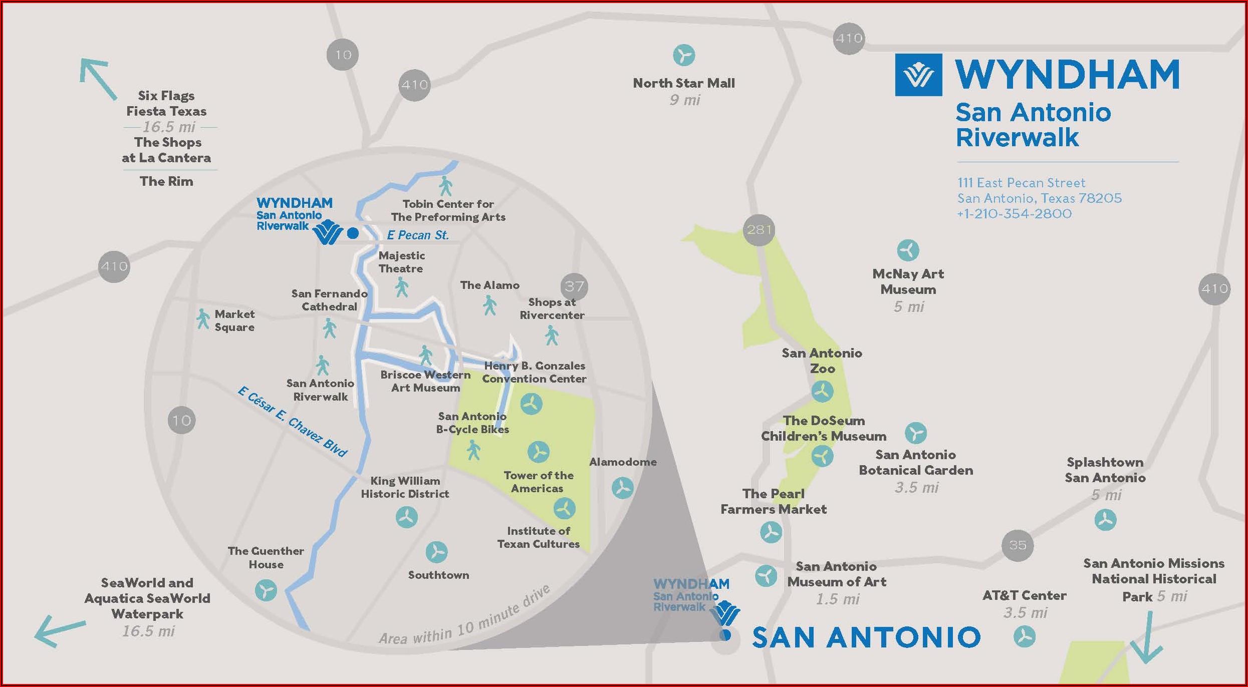 Map Of Hotels On Riverwalk San Antonio Tx