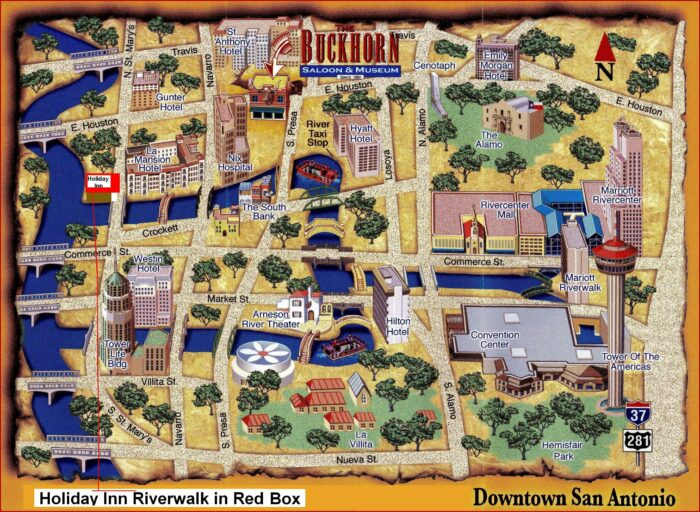 Map Of Hotels On The Riverwalk San Antonio Texas