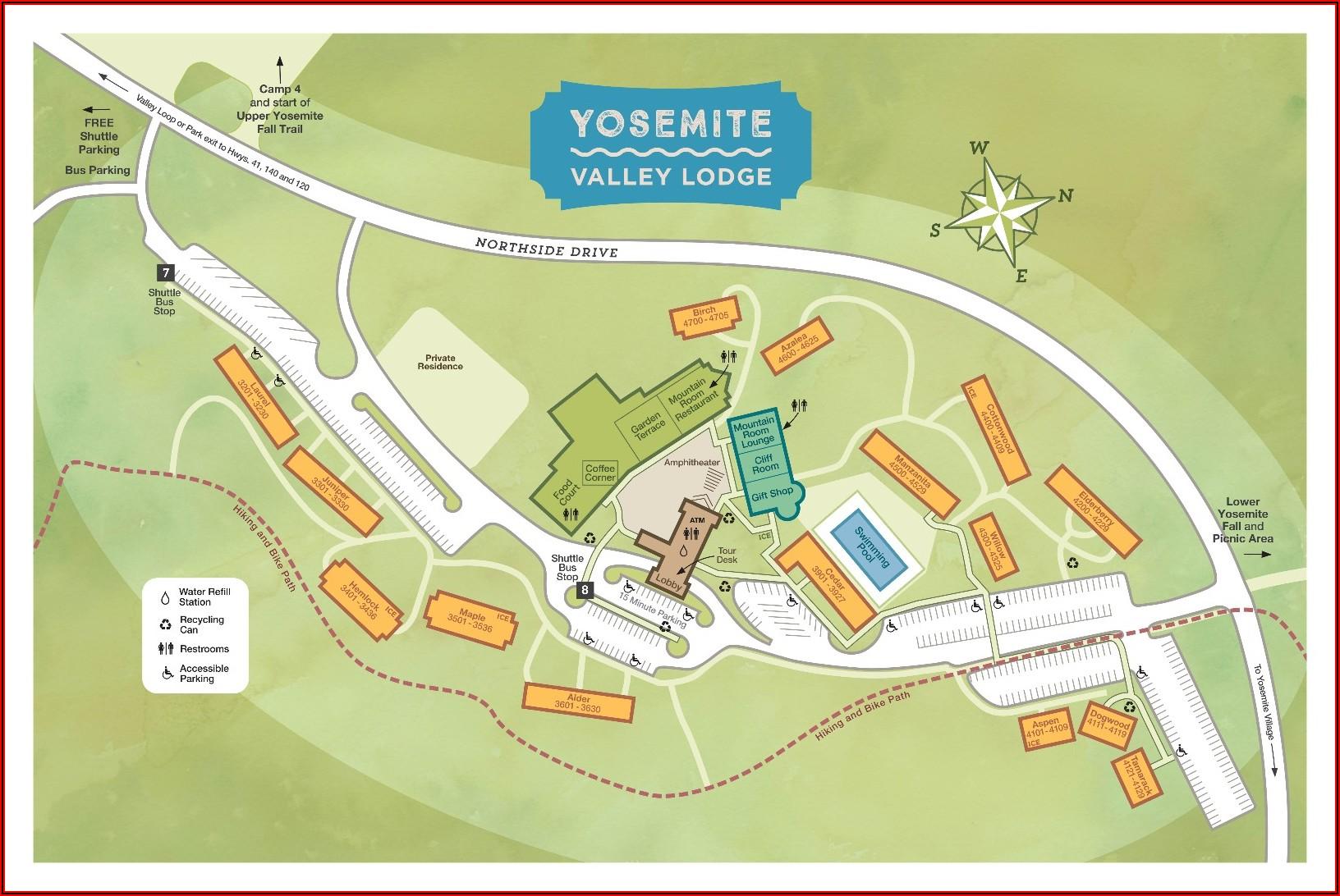 Map Of Lodging Near Yosemite