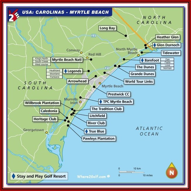 Map Of Myrtle Beach Beachfront Hotels