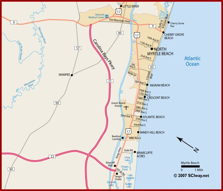Map Of Myrtle Beach Hotels And Resorts