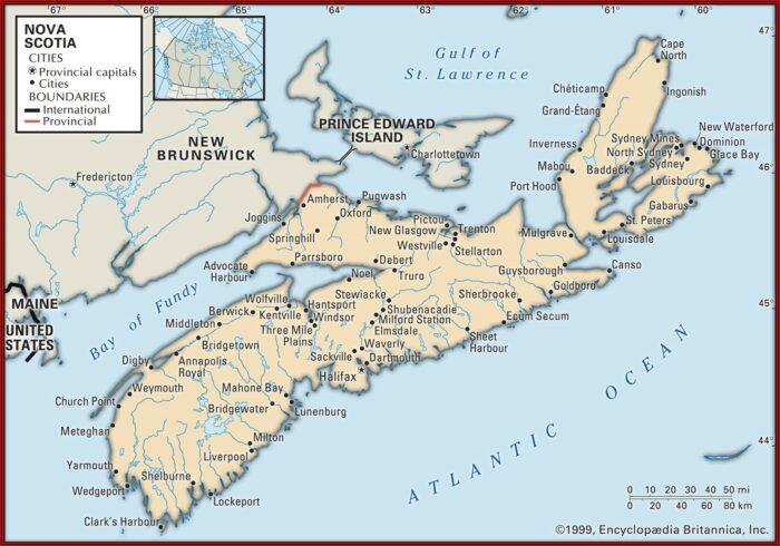 Map Of Nova Scotia Pei And Newfoundland