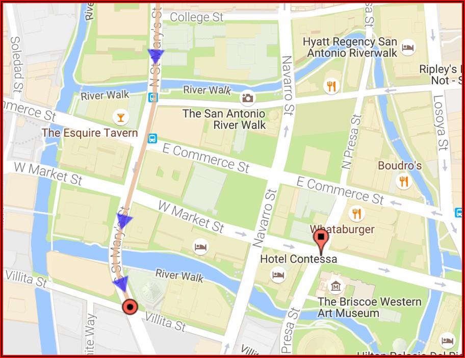 Map Of Riverwalk Hotels San Antonio