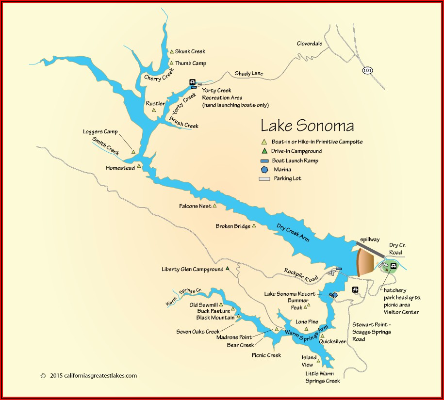 Map Of Sonoma County Campgrounds