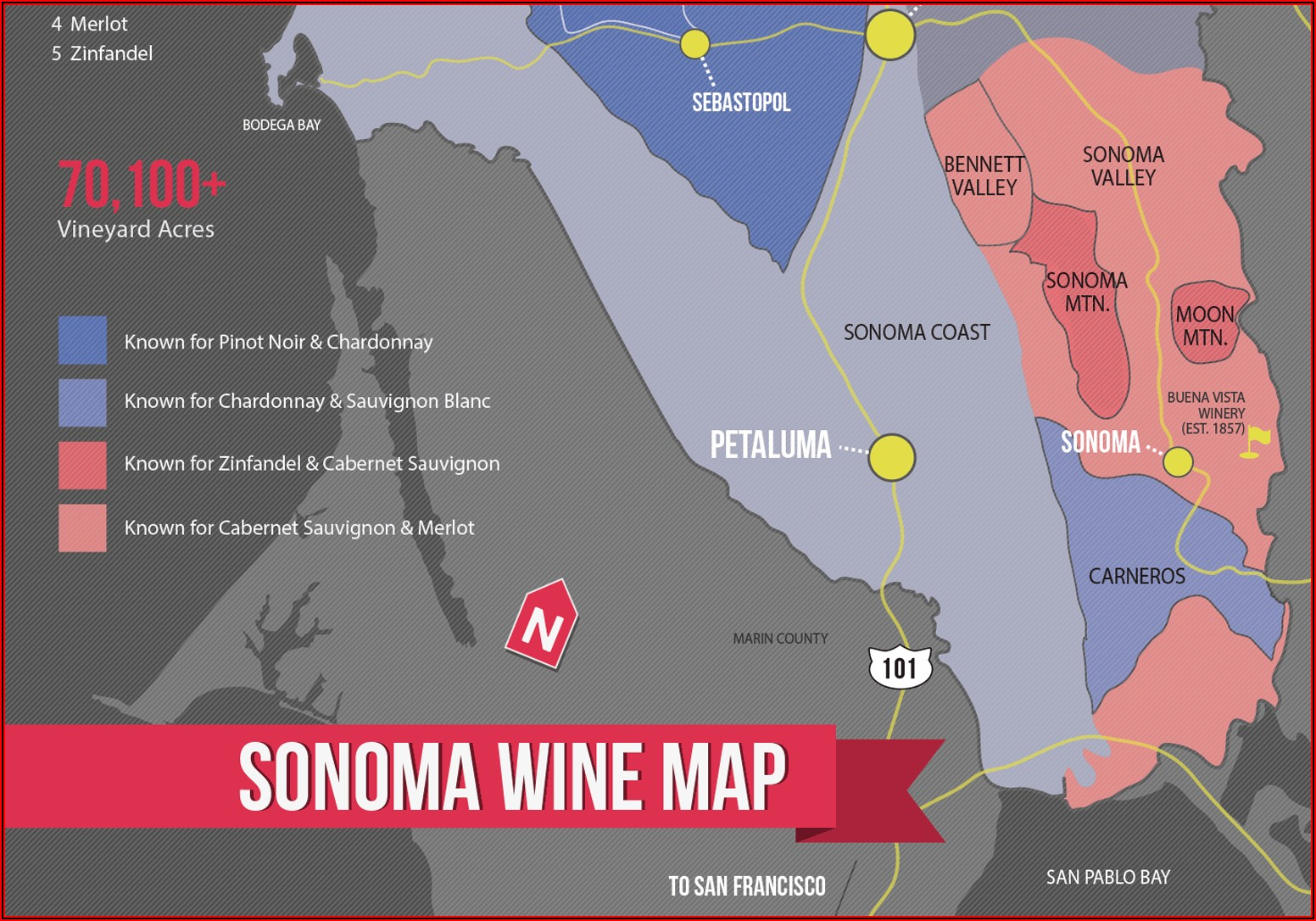 Map Of Sonoma County Wine Country