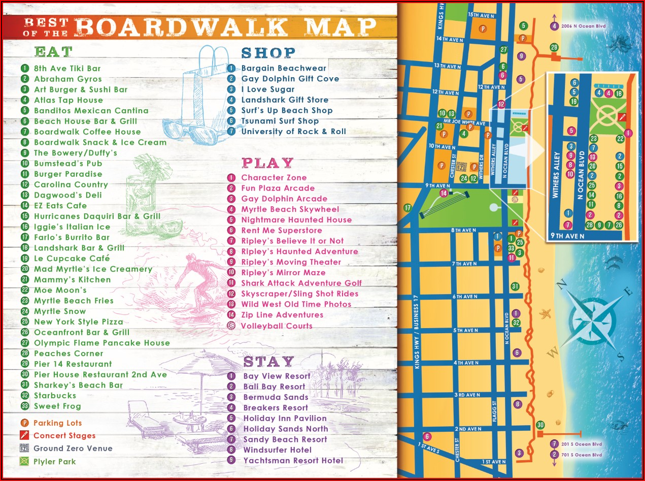 Map Of South Myrtle Beach Hotels