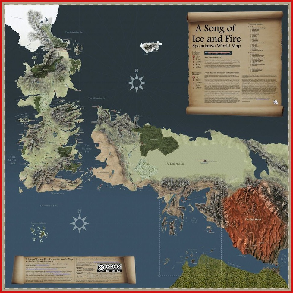 Map Of The World Of Game Of Thrones