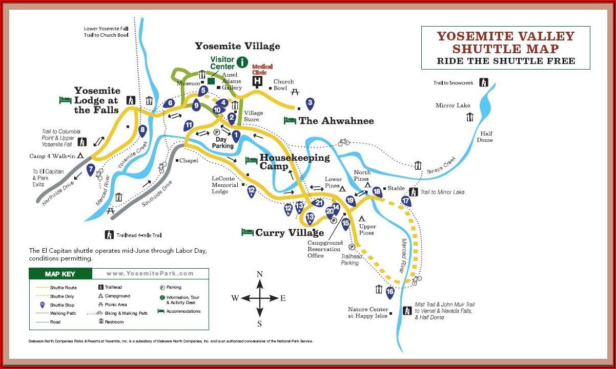 Map Of Yosemite Valley Lodging
