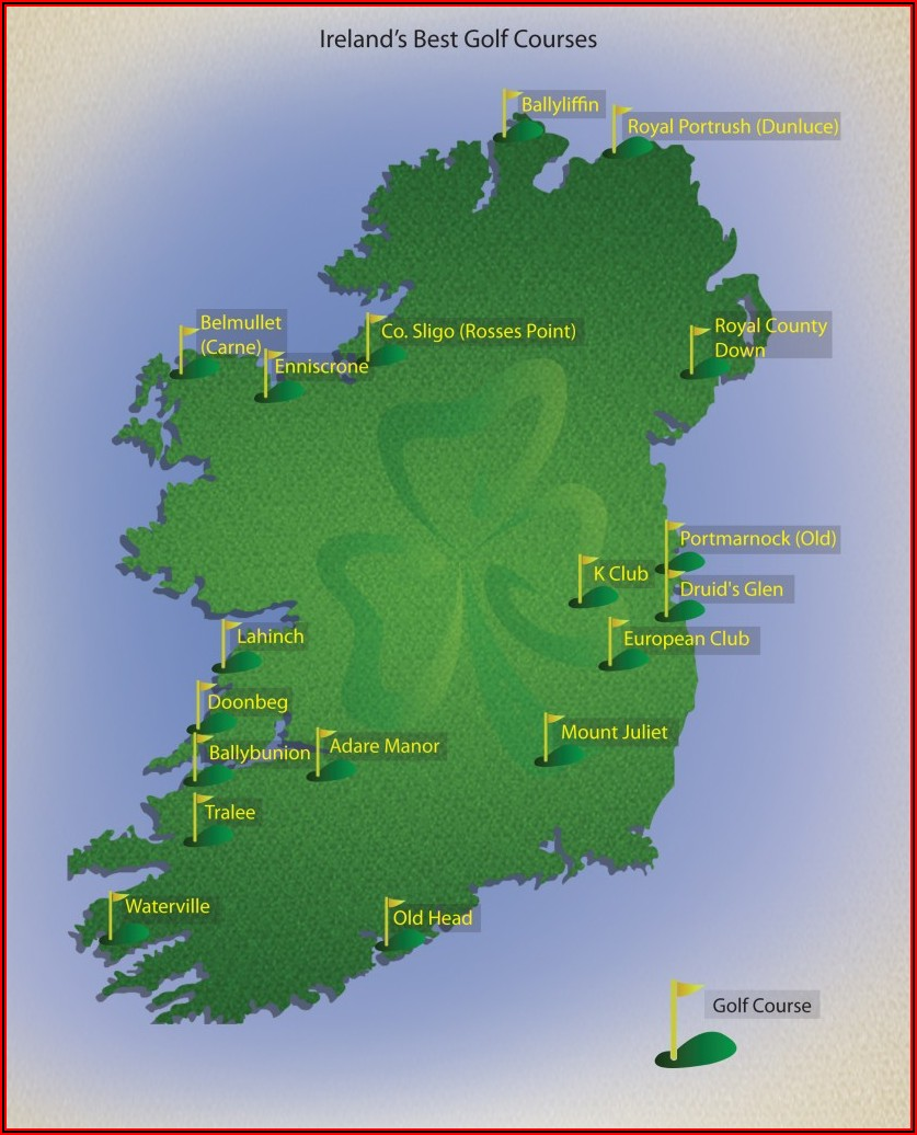Map Showing Golf Courses In Ireland