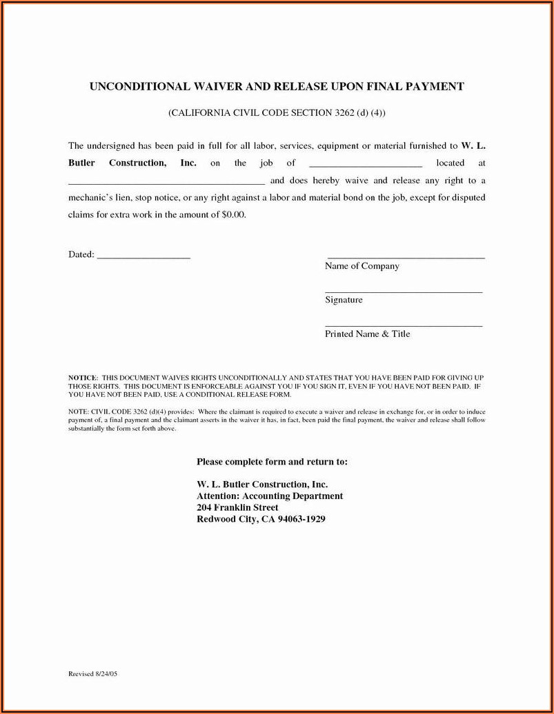 Mechanics Lien Release Form California