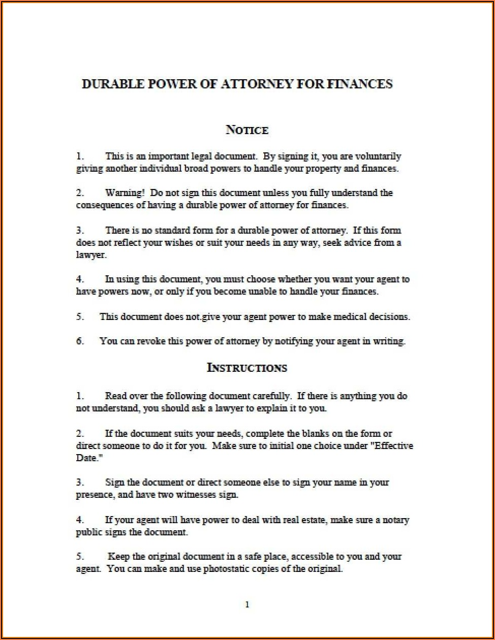 Michigan Durable Power Of Attorney Fillable Form