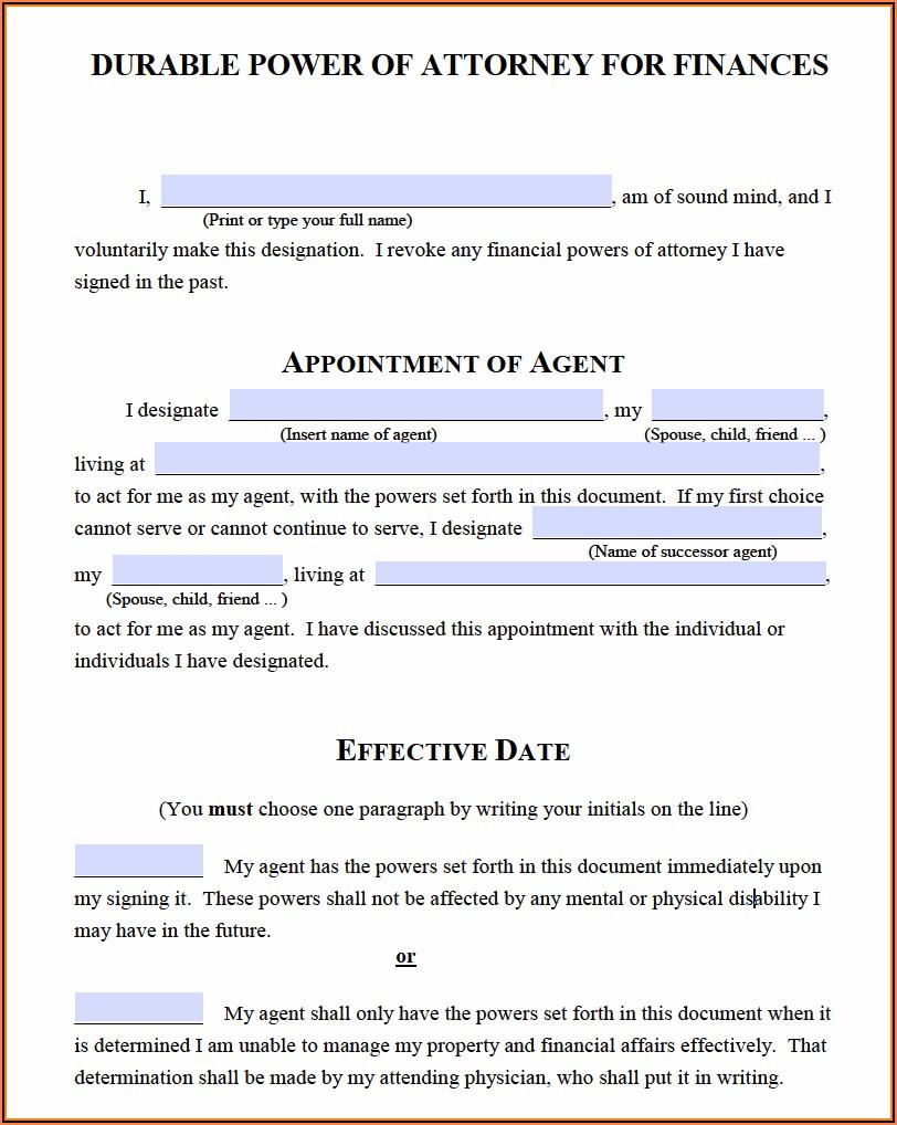 Michigan Statutory Durable Power Of Attorney Form