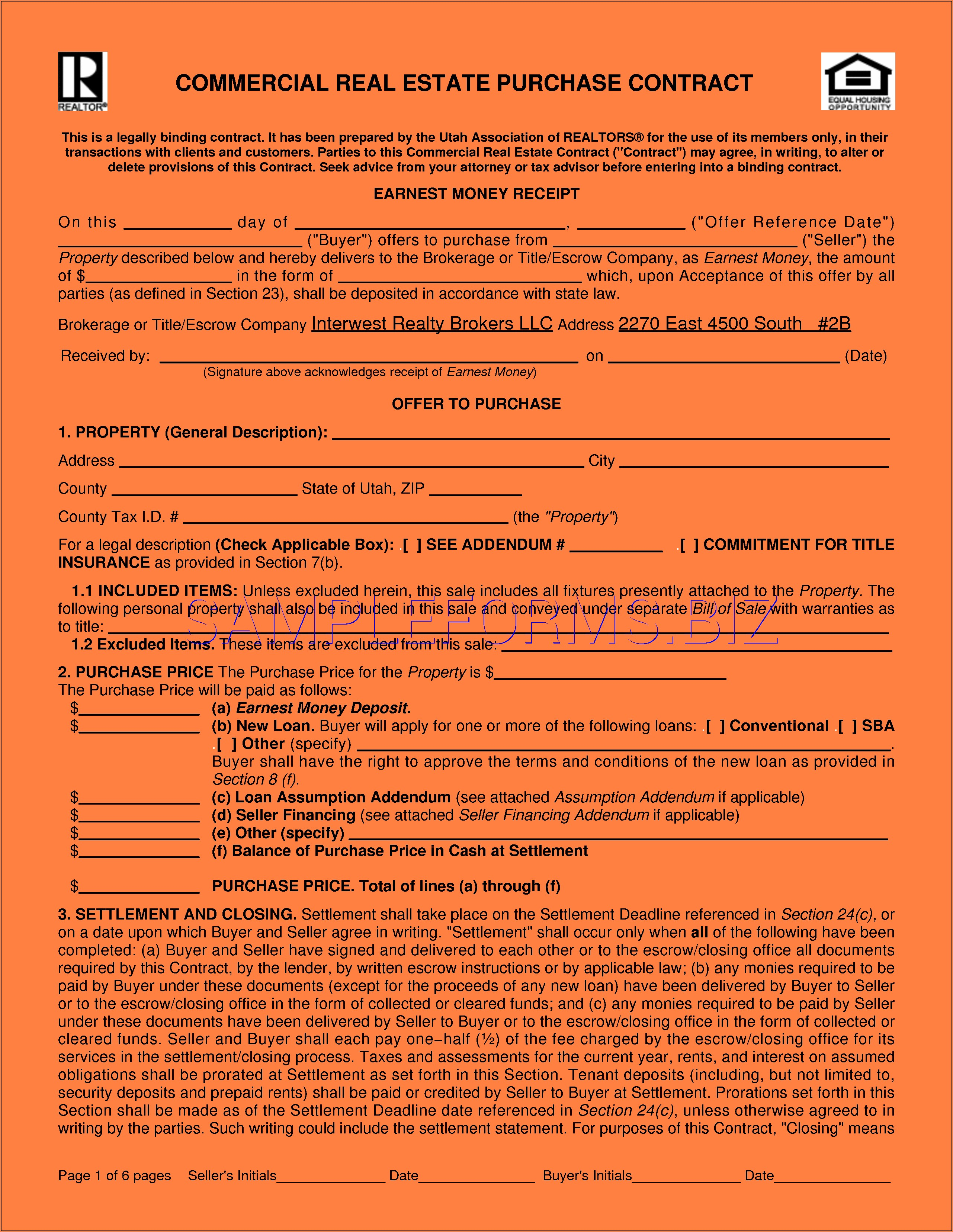 Minnesota Commercial Purchase Agreement Form