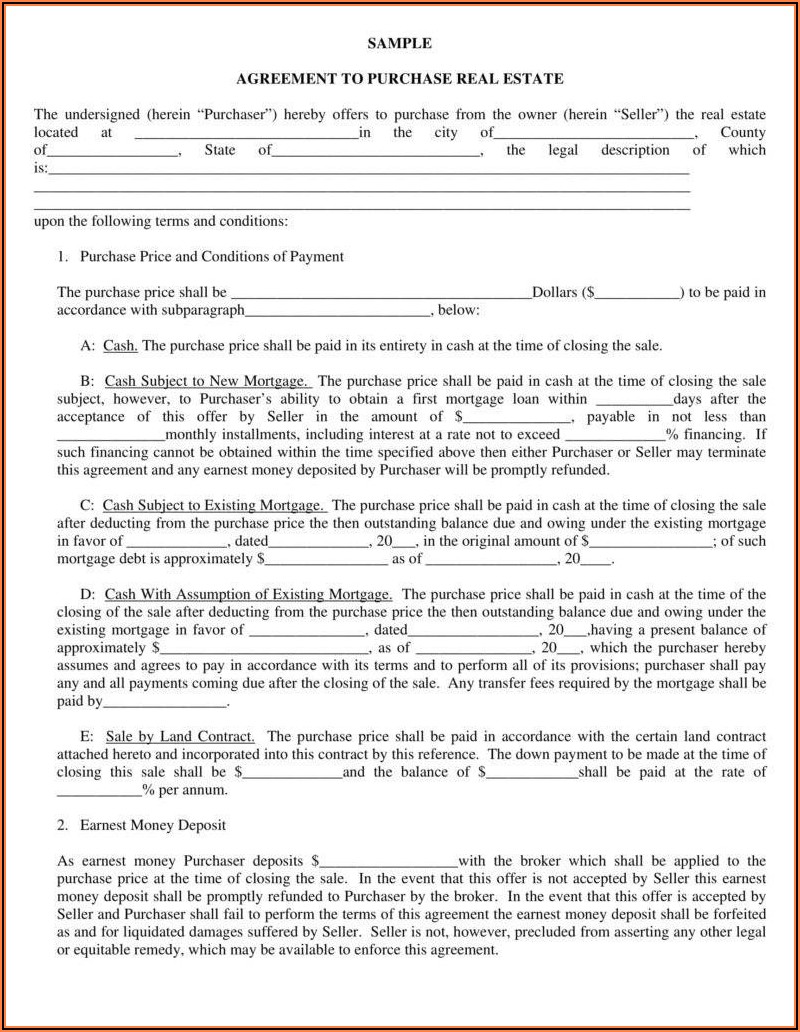 Minnesota Land Purchase Agreement Form