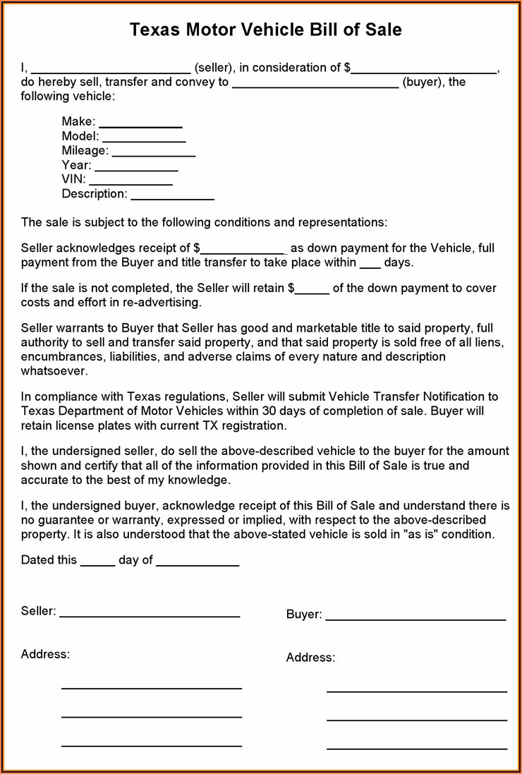 Motor Vehicle Bill Of Sale Blank Form