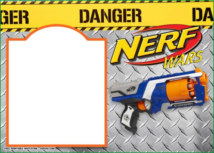 Nerf Gun Birthday Invitations Templates