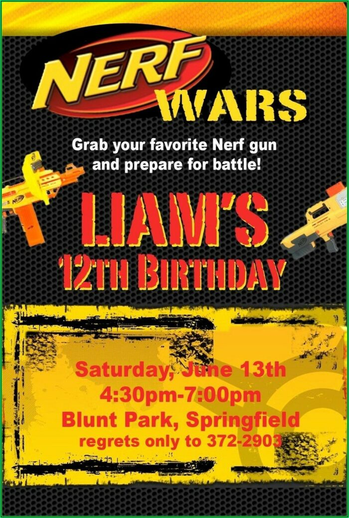 Nerf Gun Party Invitations Template