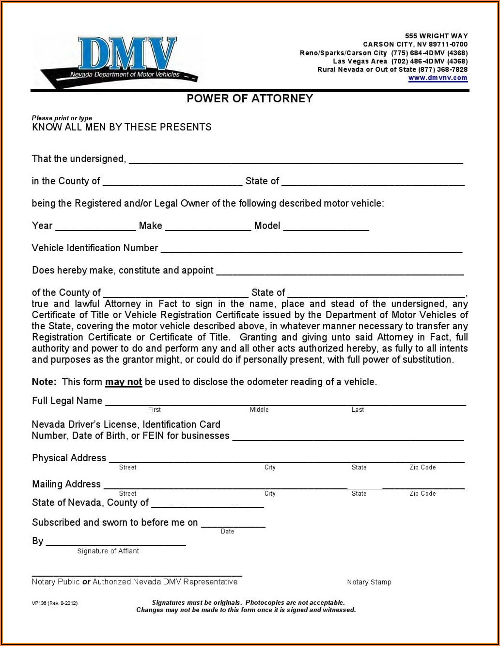 Nevada Medical Durable Power Of Attorney Form