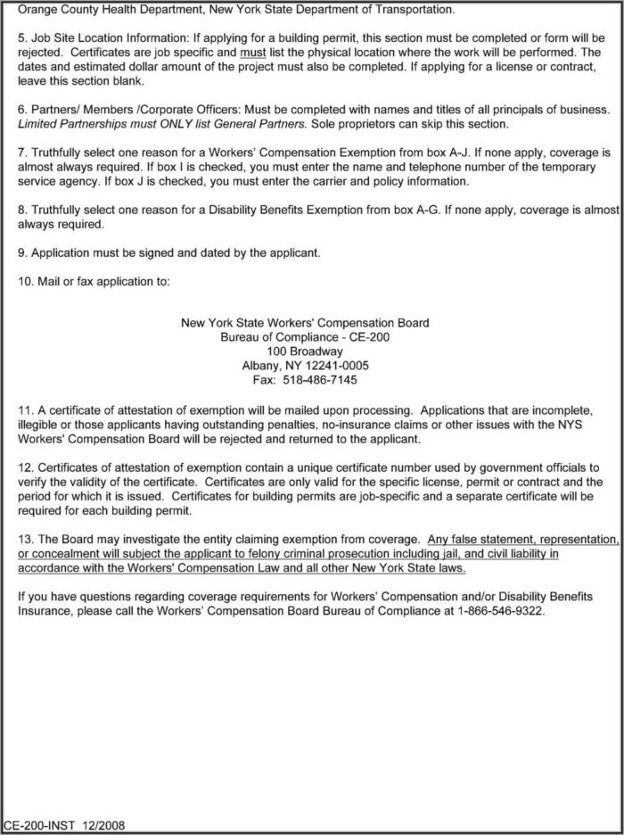 New York Workers Compensation Form Ce 200