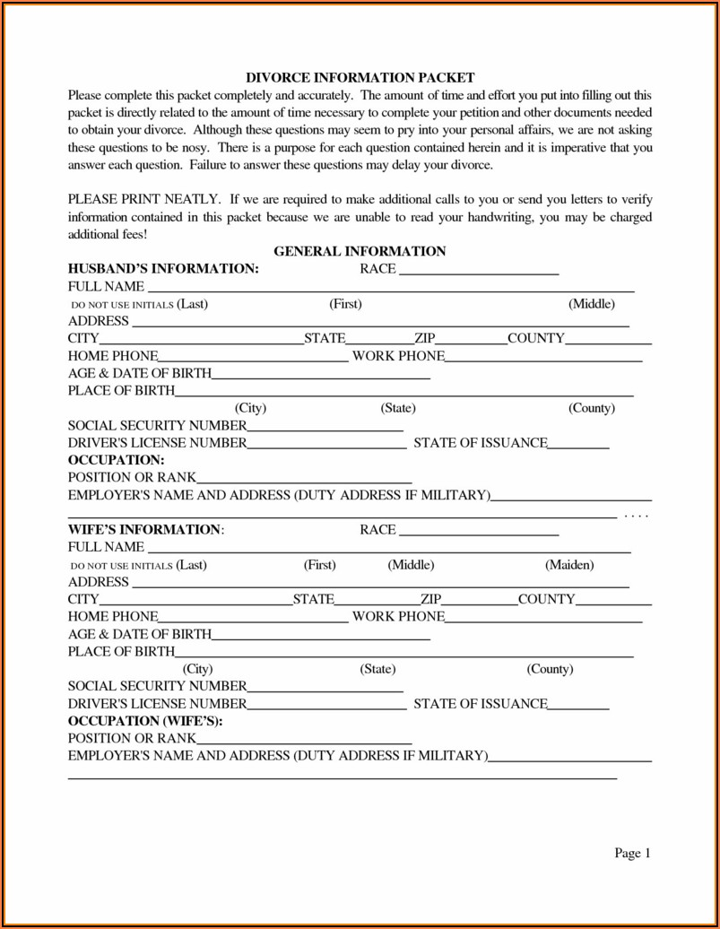 Oklahoma County Divorce Forms