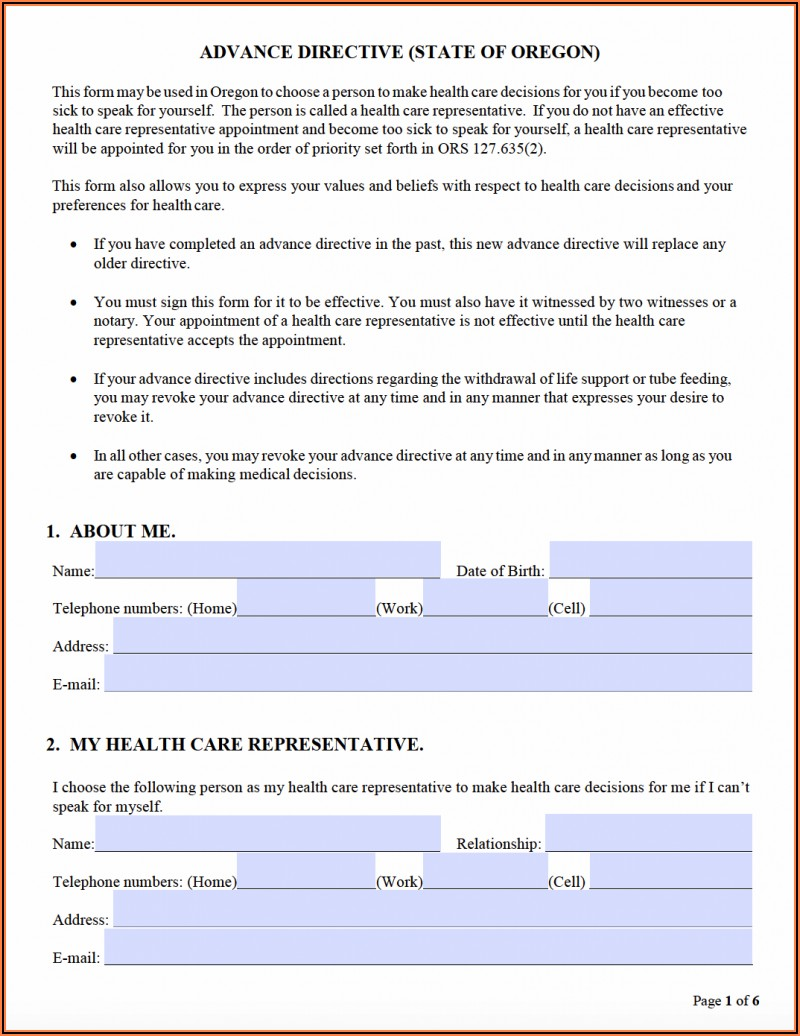 Oregon Medical Power Of Attorney Forms