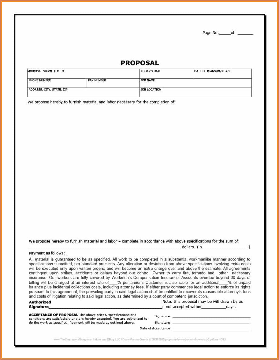 Painting Bid Proposal Form