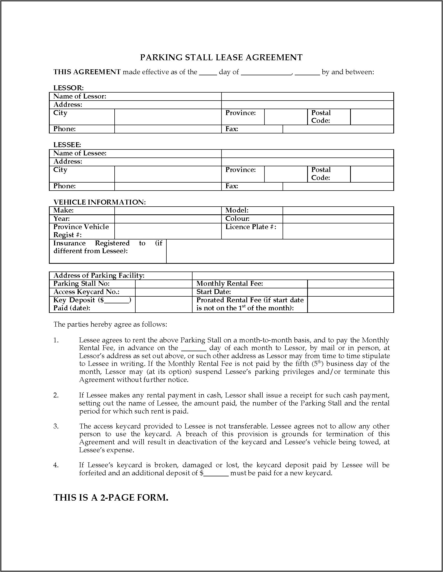 Parking Spot Lease Agreement Template