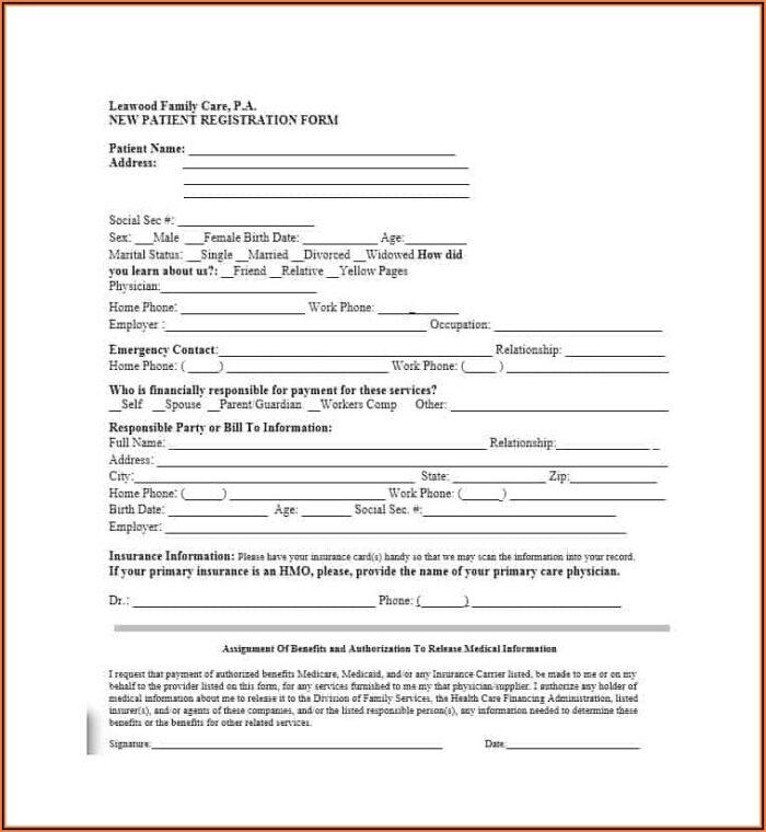 Patient Registration Form Template Free Download